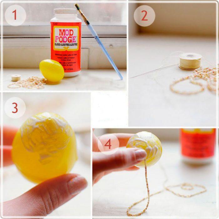 Оклейка яиц бисером