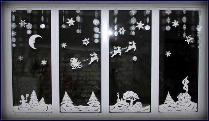 Новогодние украшения на окна своими руками фото 81