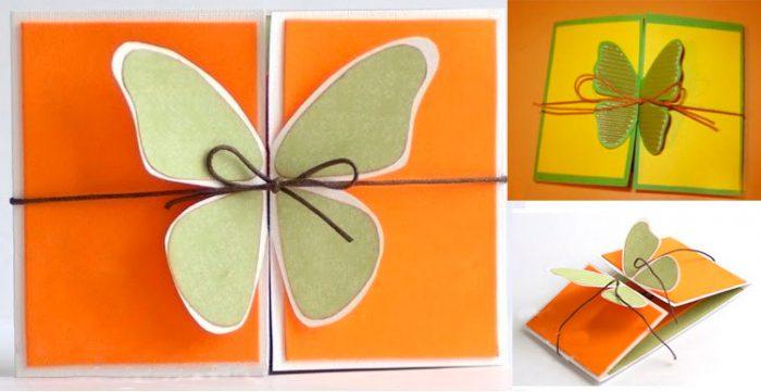 Раскладная открытка бабочка