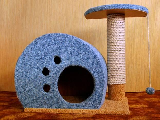Когтеточка с домиком для кошек своими руками мастер класс