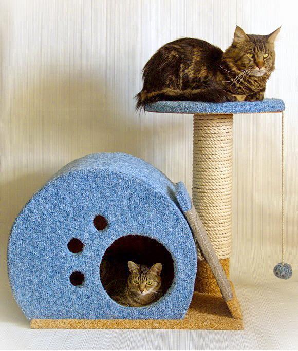 Когтеточка с домиком для кошек своими руками