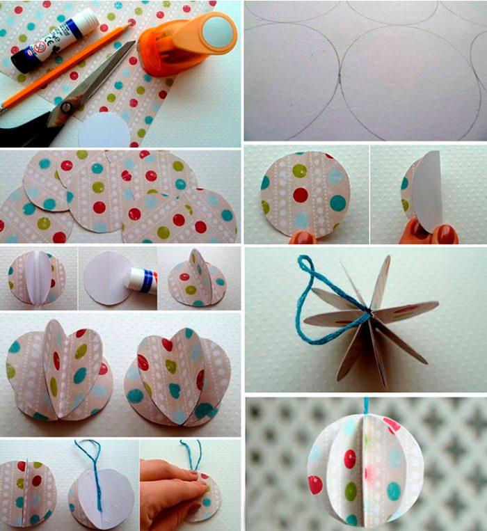 Ёлочный шар из кружочков