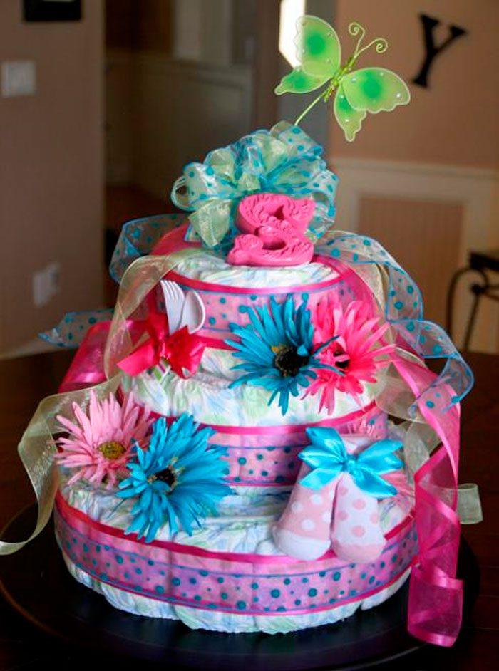 Торт из памперсов для девочек