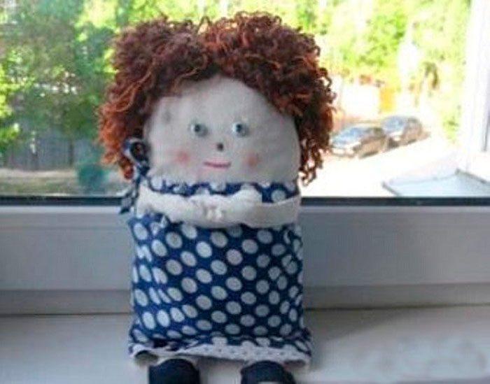 Тряпичная кукла с кучеряшками