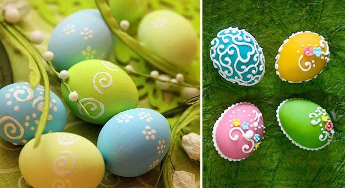 Украшение яиц сахарной пудрой