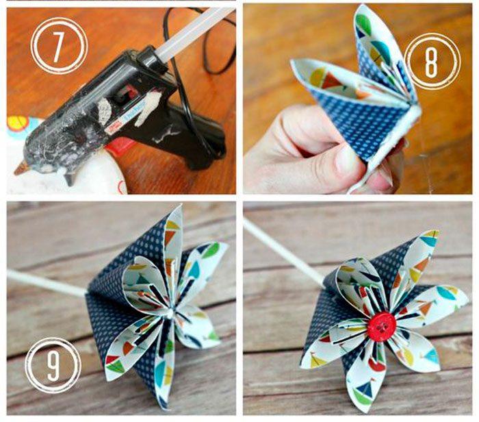 Креативный цветочек из цветной бумаги