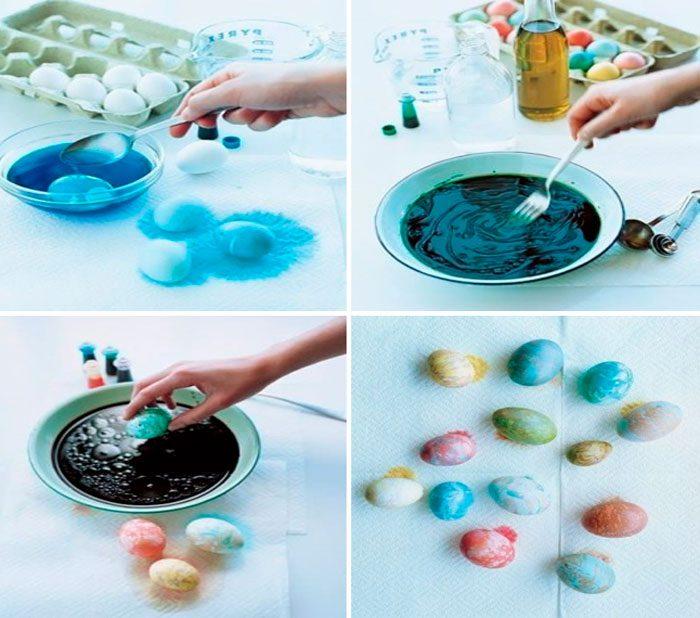 Мраморный эффект пасхальных яиц