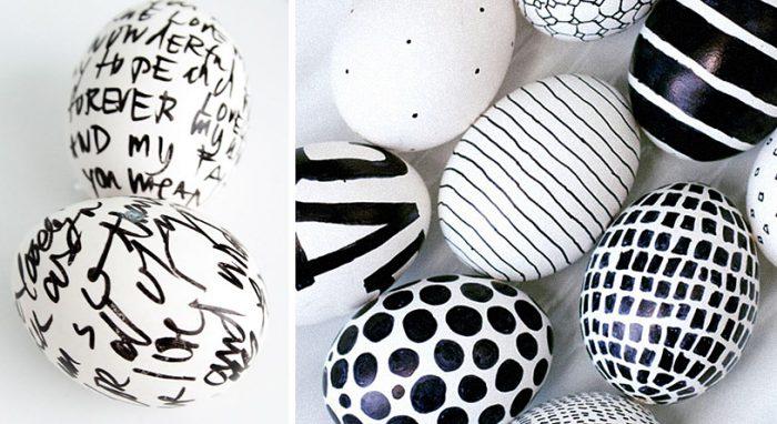 Украшение яиц перманентным маркером