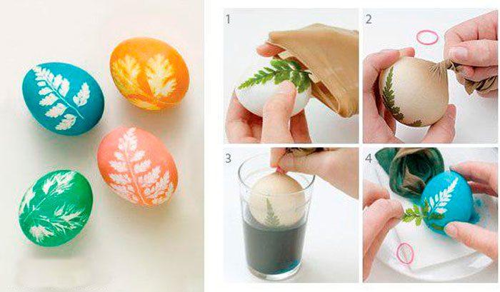 Трафаретное окрашивание пасхальных яиц