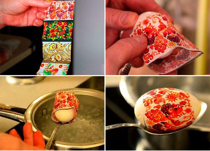 Украшение яиц термонаклейками