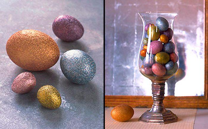 Украшение яиц блёстками
