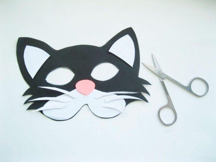 Маска из бумаги «Котик» мастер класс