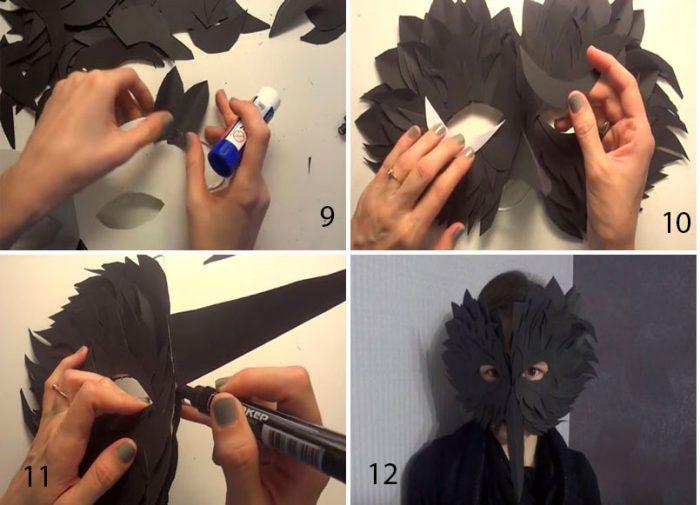 Маска «Чёрный ворон» из бумаги мастер класс