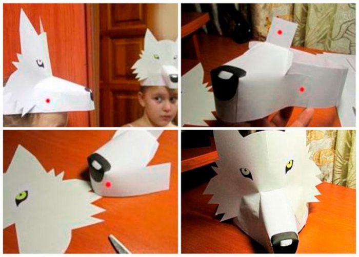 Маска на голову «Волк» из бумаги