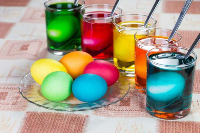 Окрашивание пасхальных яиц пищевыми красителями