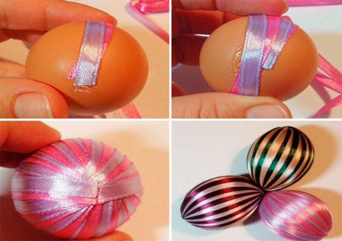 Украшение пасхальных яиц лентами