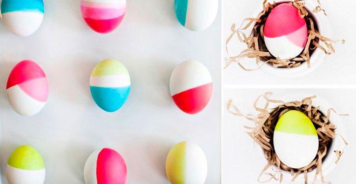 Окрашивание яиц в стиле колор-блокинг