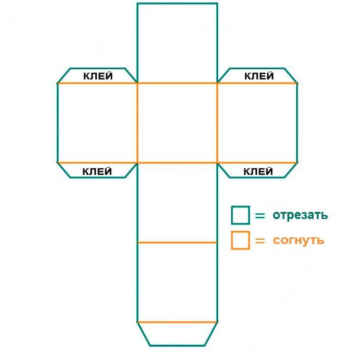 шаблон коробки с крышкой из бумаги