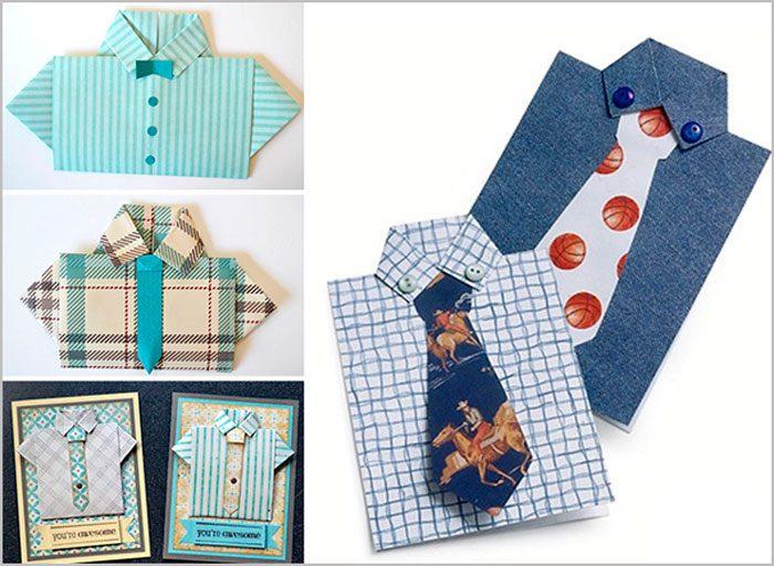 Вам понадобится: цветной картон формата А4, ножницы, линейка, клей, фломастеры, простой карандаш, элементы декорирования (пуговки, блёстки, нити). Мастер-класс Возьмите прямоугольник картона и сделайте надрез в верхней части для воротника шириной 2 см. Обрежьте с двух сторон лишние края полос. открытка рубашка с галстуком мастер-класс Нарисуйте и вырежьте галстук на другом листе картона. Приклейте галстук под воротник. Напишите пожелание и задекорируйте на свой вкус. Рекомендую к просмотру видео мастер-класс!