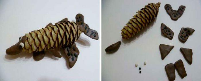 Щука из шишки и пластилина пошаговый мастер-класс