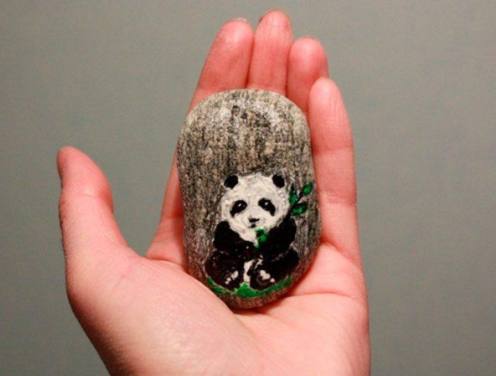 Панда нарисованная на камне мастер-класс