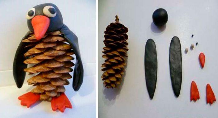 Пингвин из шишки и пластилина пошаговый мастер-класс