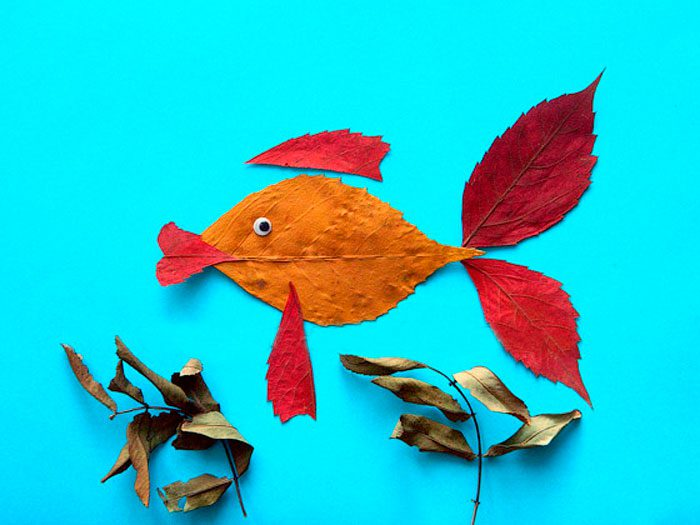 Аппликация «Рыбка» из осенних листьев мастер-класс