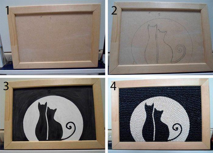 Картина кошки из фасоли мастер-класс