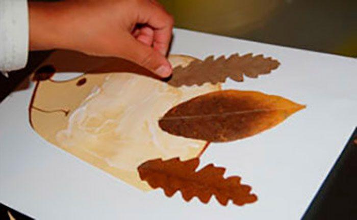 Аппликация «Ёжик» из осенних листьев мастер-класс