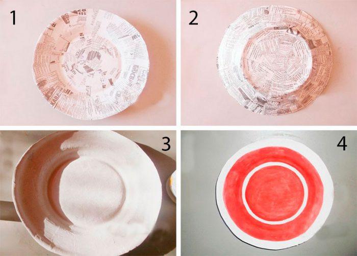 Тарелка в технике папье-маше мастер класс
