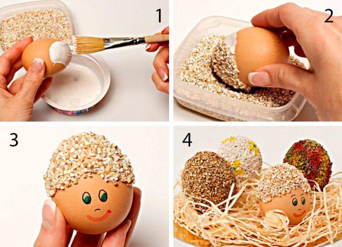 Украшение яиц крупами мастер-класс