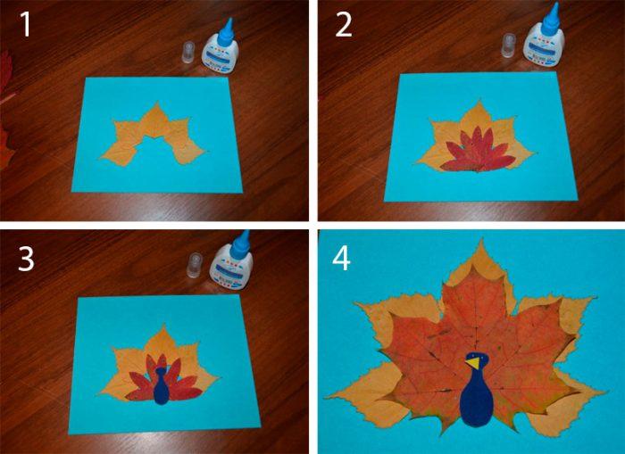 Аппликация «Павлин» из осенних листьев мастер-класс