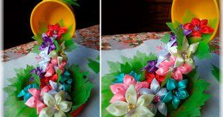 Парящая чашка с цветами канзаши своими руками пошаговый мастер-класс