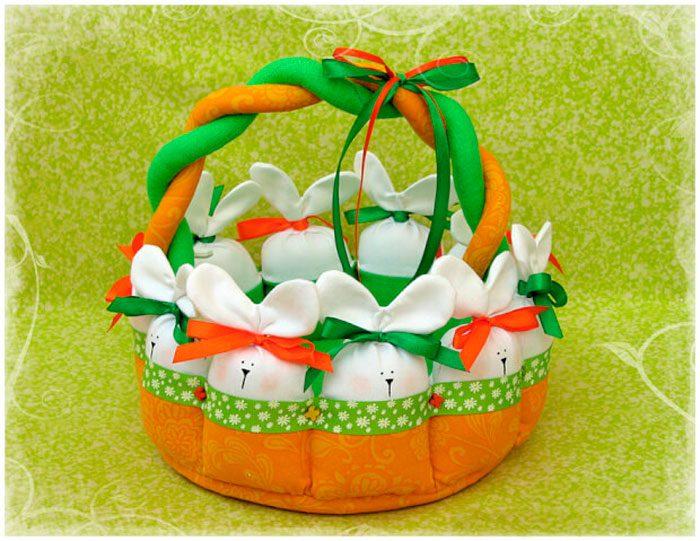 Пасхальная корзинка с зайцами пошаговый мастер-класс