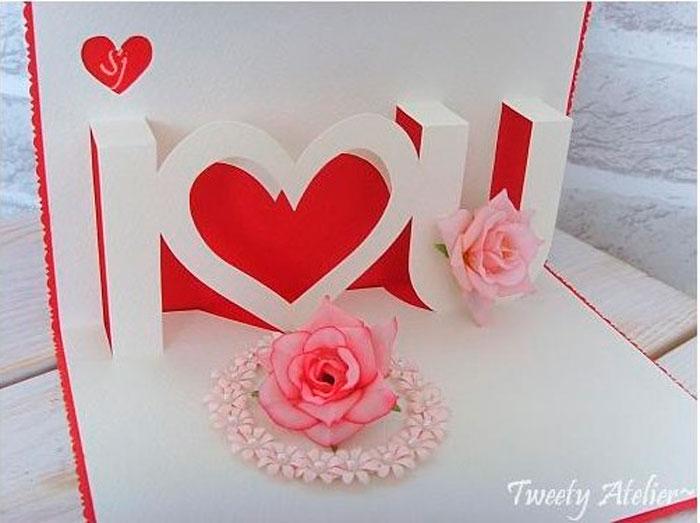 Днем рождения, объемные открытки я люблю тебя