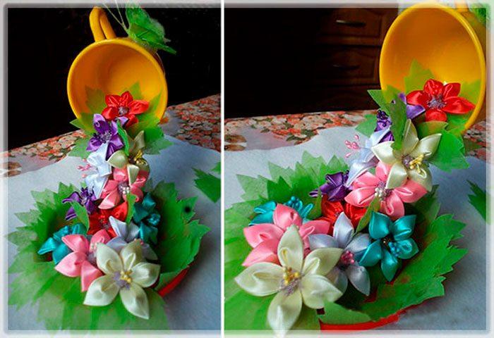 Парящая чашка с цветами канзаши