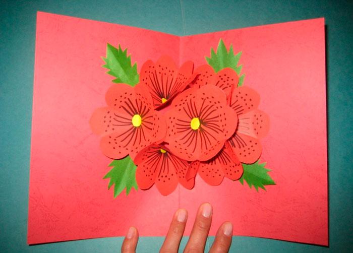 Объемная открытка с цветком мастер класс