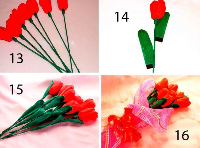 тюльпаны из креповой бумаги, мастер-класс