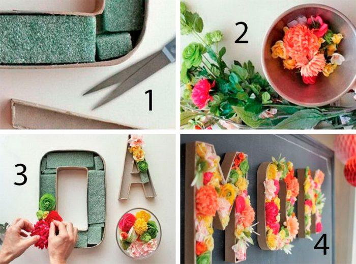 Буквы из живых цветов мастер-класс