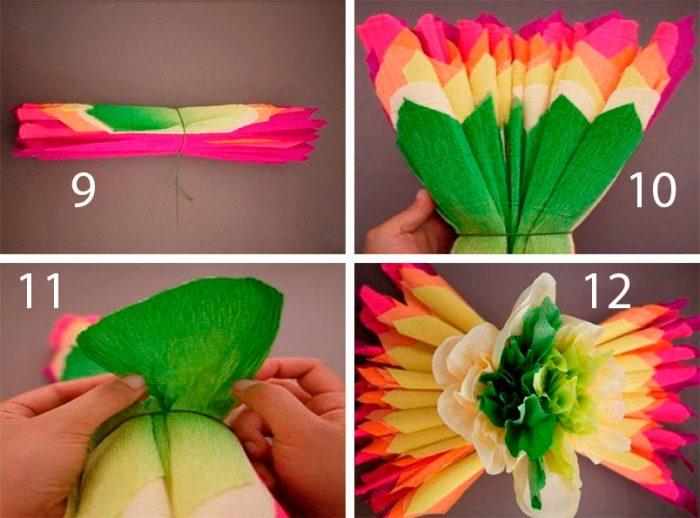 Объёмный цветок из гофрированной бумаги, мастер-класс