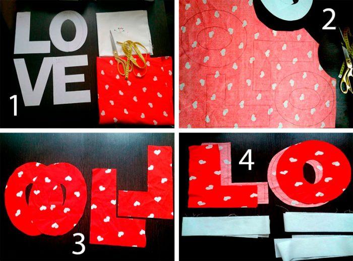 Буквы-подушки из ткани мастер-класс