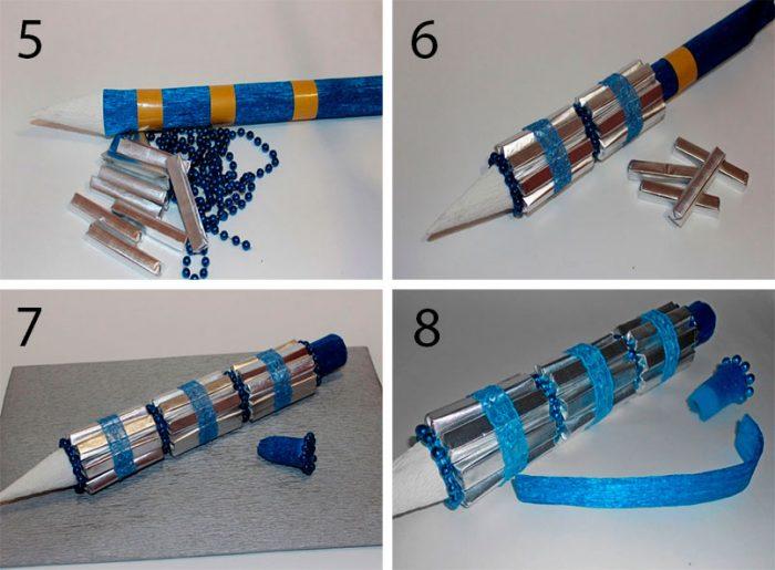 Ручка из конфет своими руками, пошаговый мастер-класс