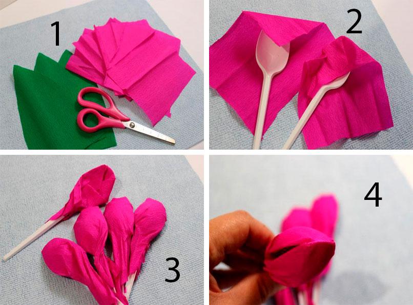 Тюльпаны из гофрированной бумаги своими руками, 3 мастер ... Тюльпан из Гофрированной Бумаги