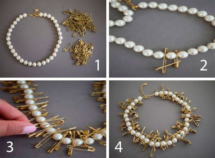 Жемчужное ожерелье с булавками мастер-класс