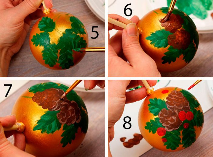 рисуем шишки на ёлочном шаре