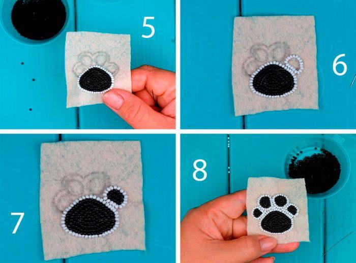 Собачья лапка вышивка бисером мастер-класс