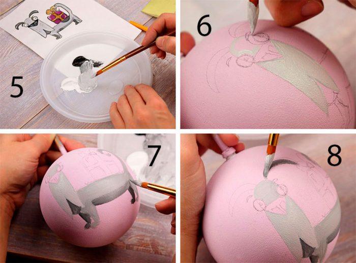 рисуем собаку на ёлочном шаре