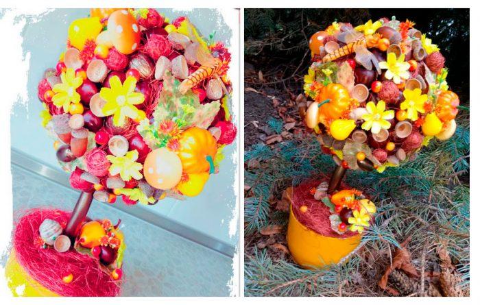 Осенний топиарий из сизаля и каштанов