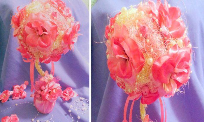 Цветочный топиарий из сизаля