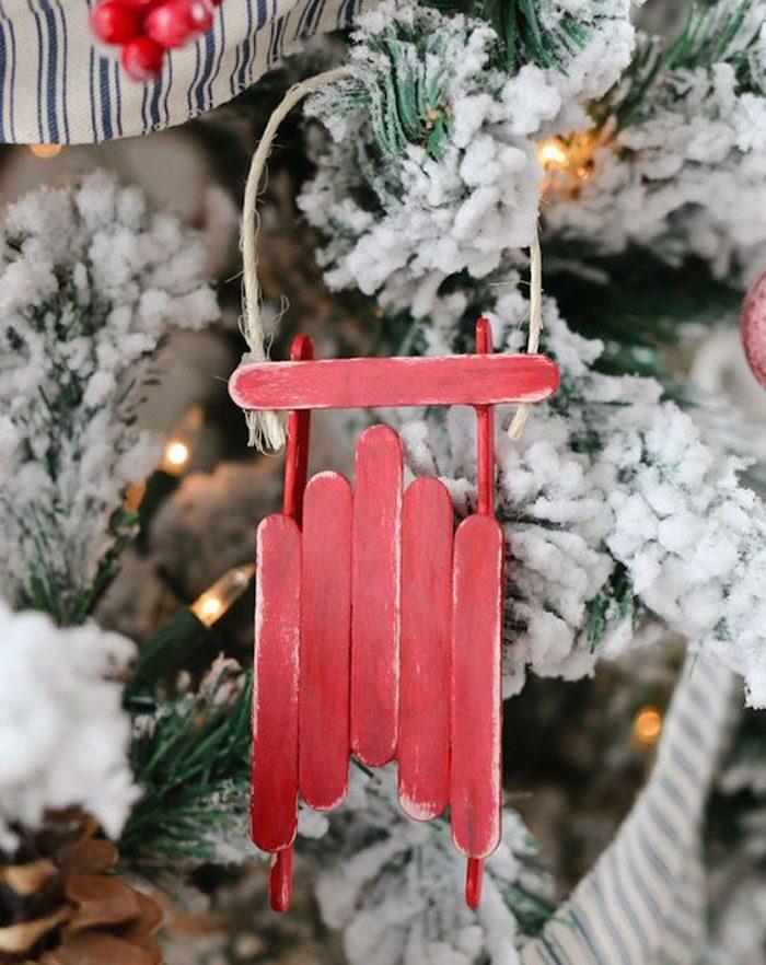 Новогодние поделки из палочек от мороженного